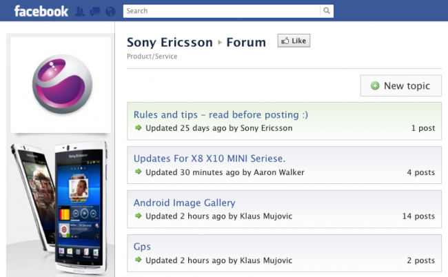 Forum for Pages - Sony Ericsson