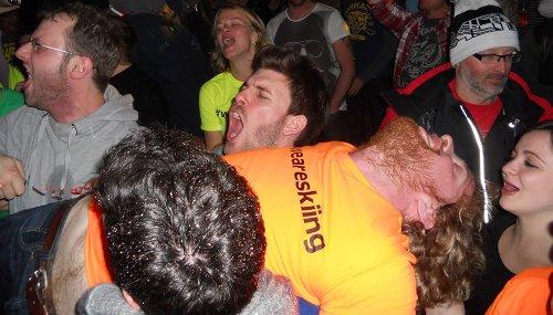 Tom crowdsurfing