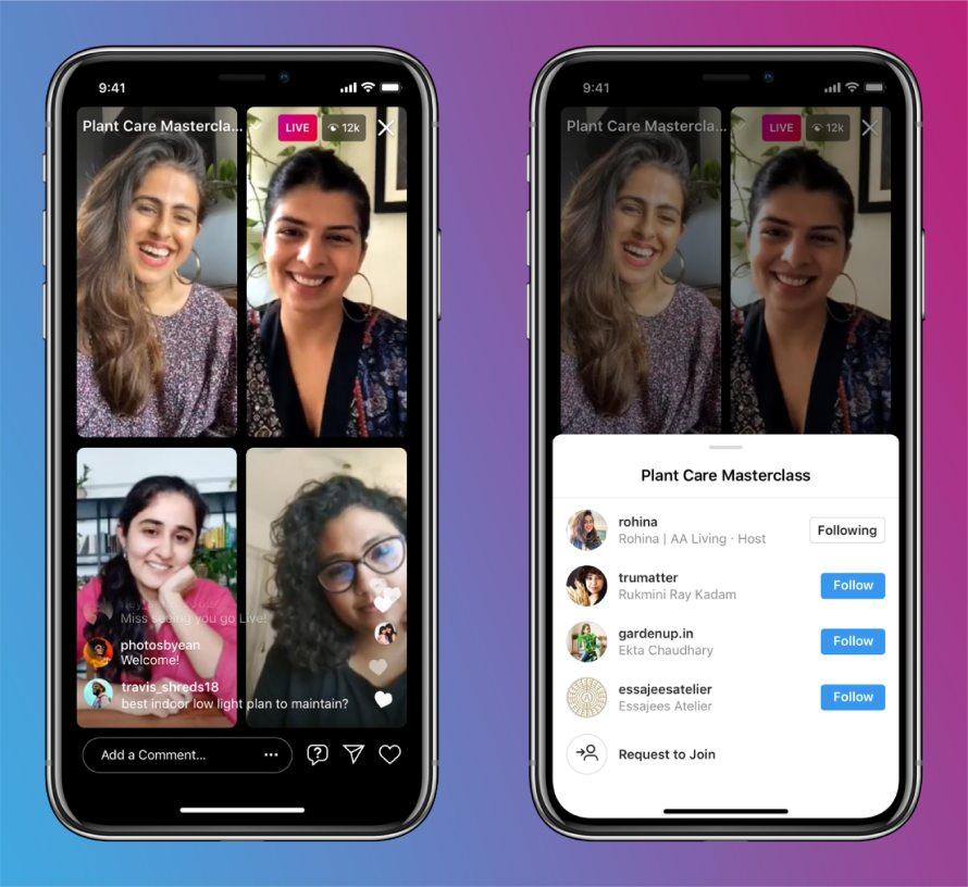 Instagram Live mit bis zu vier Followern möglich. Zeigt ein Bild eines Livestreams auf Instagram