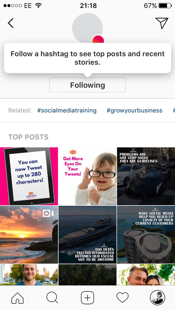 Instagram teste le fait de pouvoir suivre des hashtags