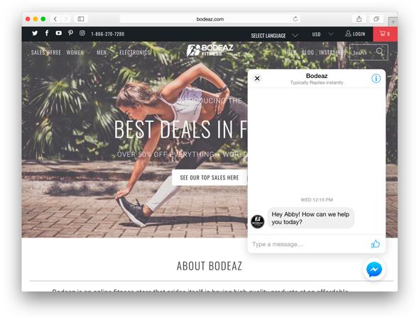 Un plugin Messenger sur le site internet des marques