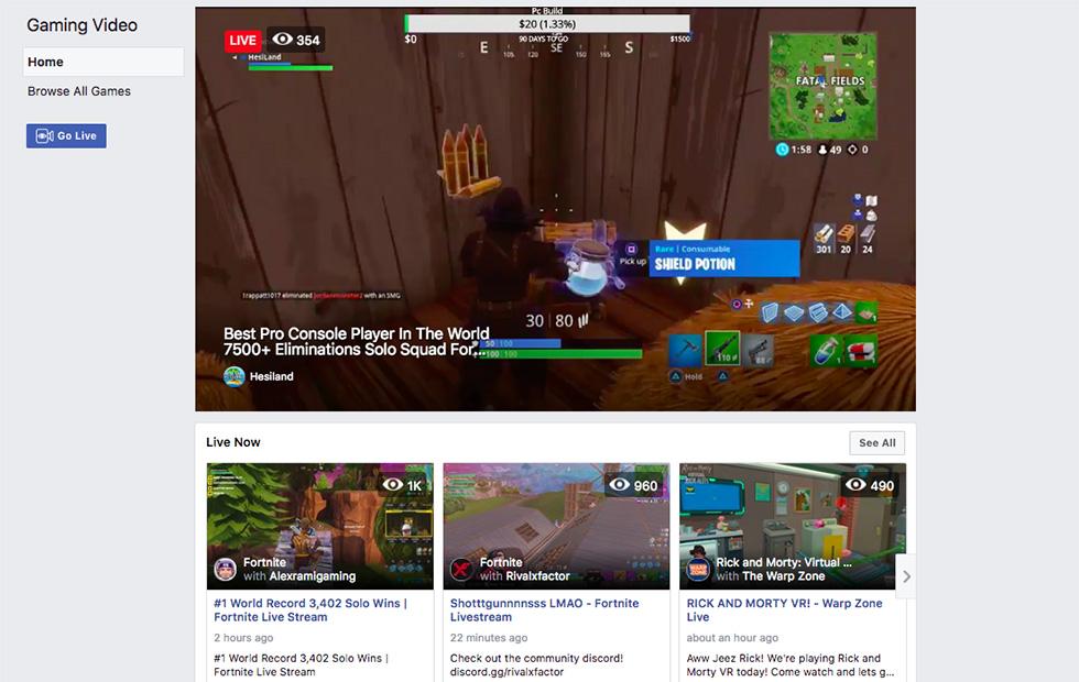 Des jeux vidéos en streaming sur Facebook