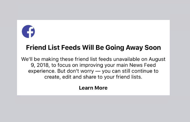 "Facebook supprime sa fonctionnalité ""Friend List Feeds"""