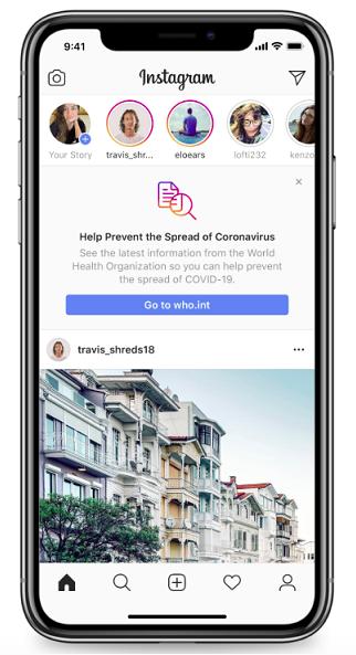 Instagram posiziona sul feed pannelli informativi e stoppa l'utilizzo di alcuni effetti AR correlati al coronavirus