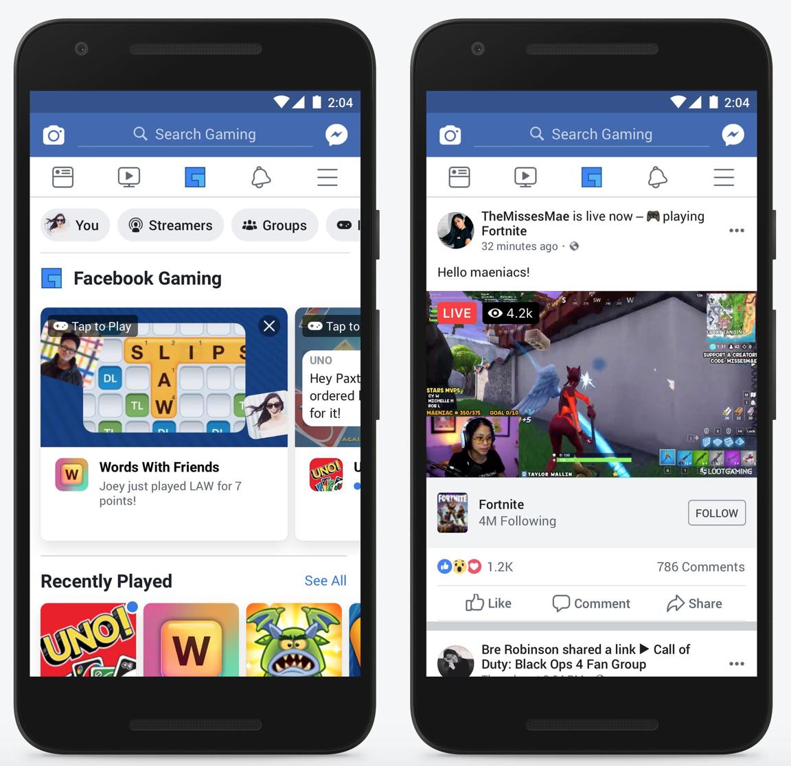 Facebook Gaming social lockdown