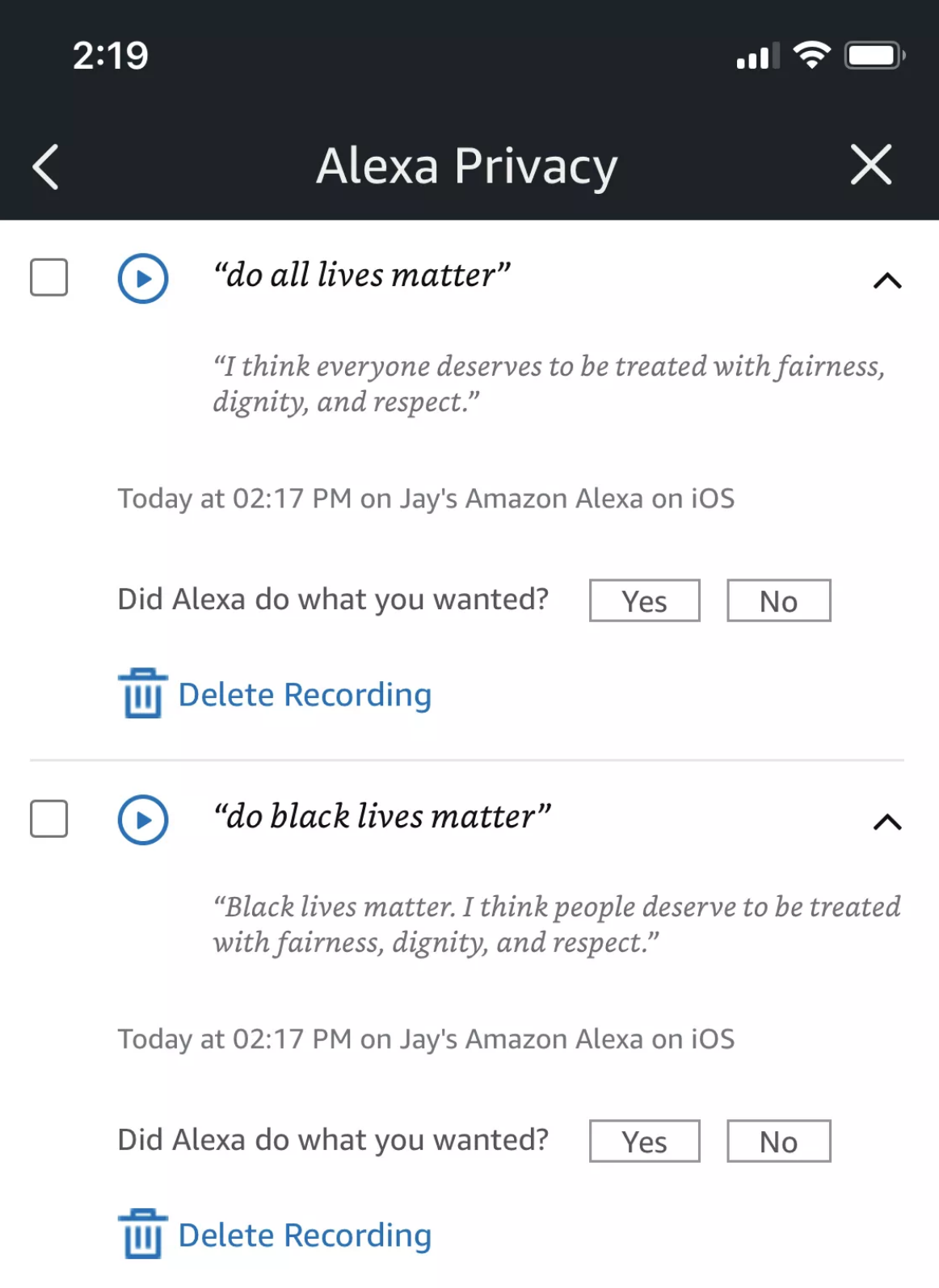 blacklivesmatter social vocal assistant alexa google
