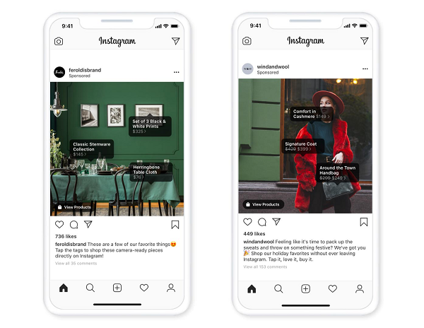 Instagram Tags Prodotto e-commerce