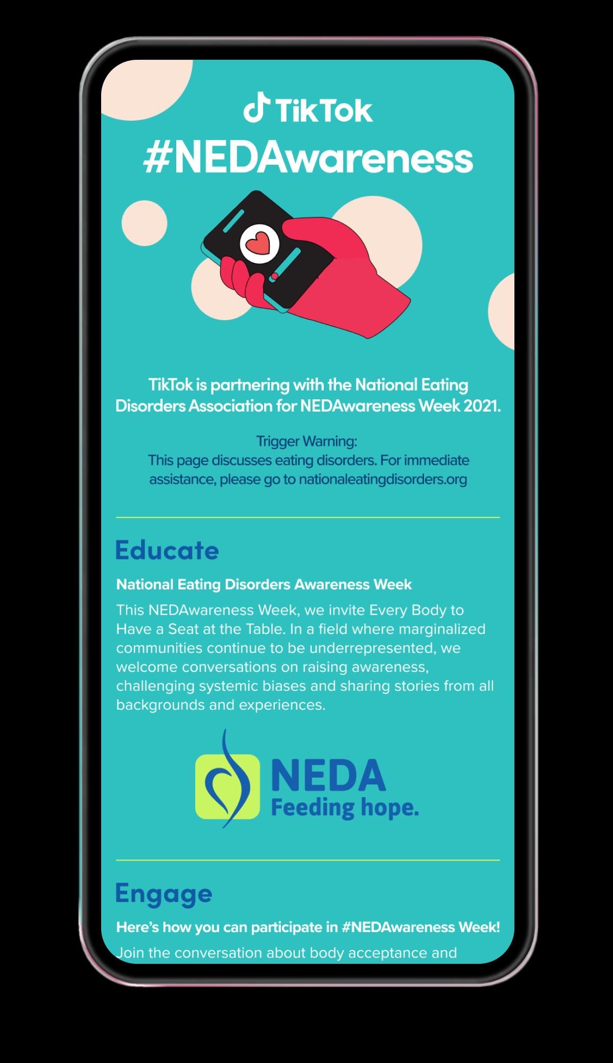 #NEDAwareness campaign promoting by TikTok
