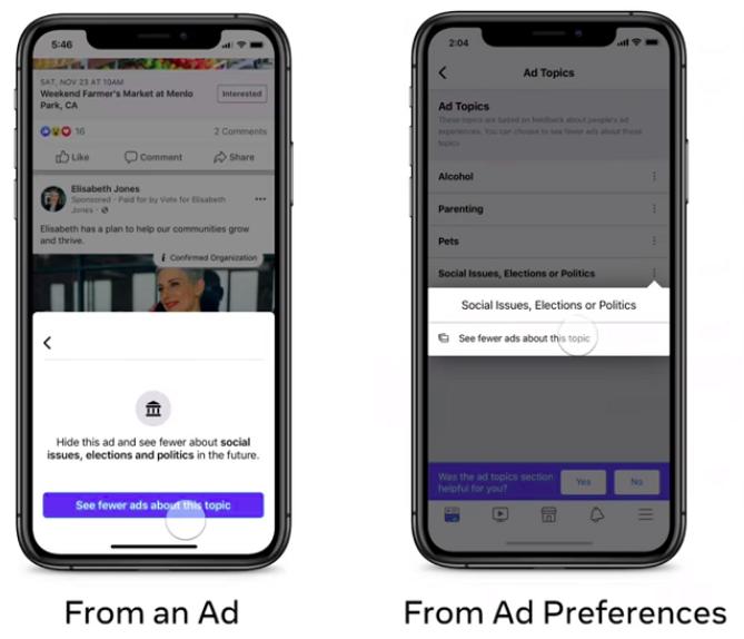 Gli utenti potranno decidere se visualizzare o meno le pubblicità politiche