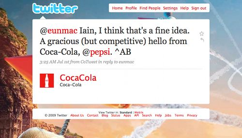 Coke's tweet to Pepsi