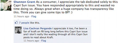 Kraft Foods Facebook wall comment