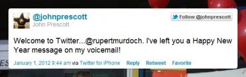 John Prescott tweets Rupert Murdoch