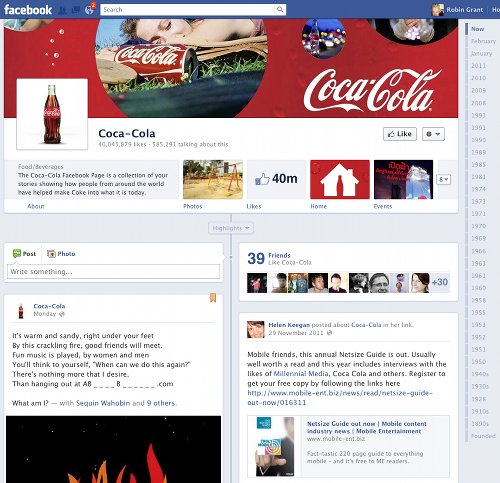 Coca-cola's new Timeline
