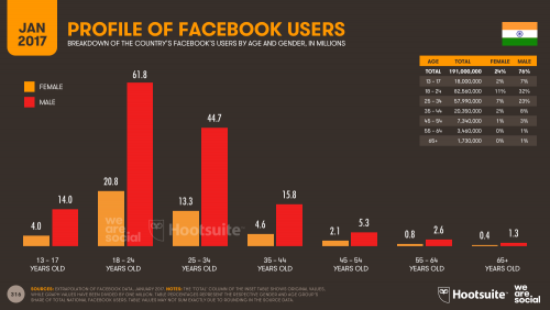 Facebook Users in India in 2017, Profiled by Age and Gender