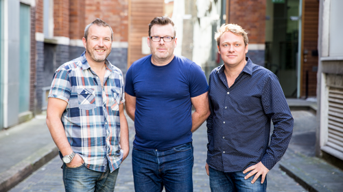 Rob (centre) with We Are Social co-founders Robin (left) and Nathan (right)